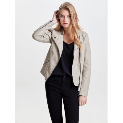 Ava Only Leather Look Jacket - Cashmere